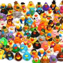 Pull Together 100 Pack Rubber Duck Bath Toy Assortment - Bulk Floater Duck for Kids - Baby Showers Accessories - Party Favors, Birthdays, Bath Time, and More (25 Varieties)