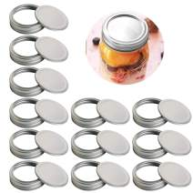 MEYUEWAL Canning Lids, Regular Mouth Mason Jar Lids And Bands 12 Pack Reusable Canning Flats For Mason Jars, Secure Canning Jar Caps (12 Jar lids + 12 Jar bands, Regular Mouth-70mm)