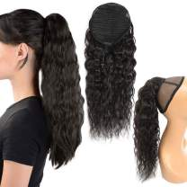 Corn Wave Drawstring Ponytail Extensions Natural Black Ponytail 100% Human Hair for Women Ponytail Clip in on Hair Virgin Hair Ponytail 16 Inches 105g
