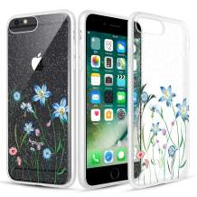 Caka Clear Case for iPhone 6S Plus Floral Glitter Clear Case Flower Pattern Slim Girly Anti Scratch TPU Crystal Protective Glitter Case for iPhone 6 Plus 6S Plus 7 Plus 8 Plus (5.5 inch) (Blue Vine)