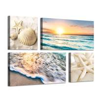 Ocean Pictures Canvas Wall Art: Sandy Starfish & Seashell at Sunset Painting Artwork Print on Canvas for Bedroom (24'' x 12'' x 2 PCS + 12'' x 12'' x 2 PCS)