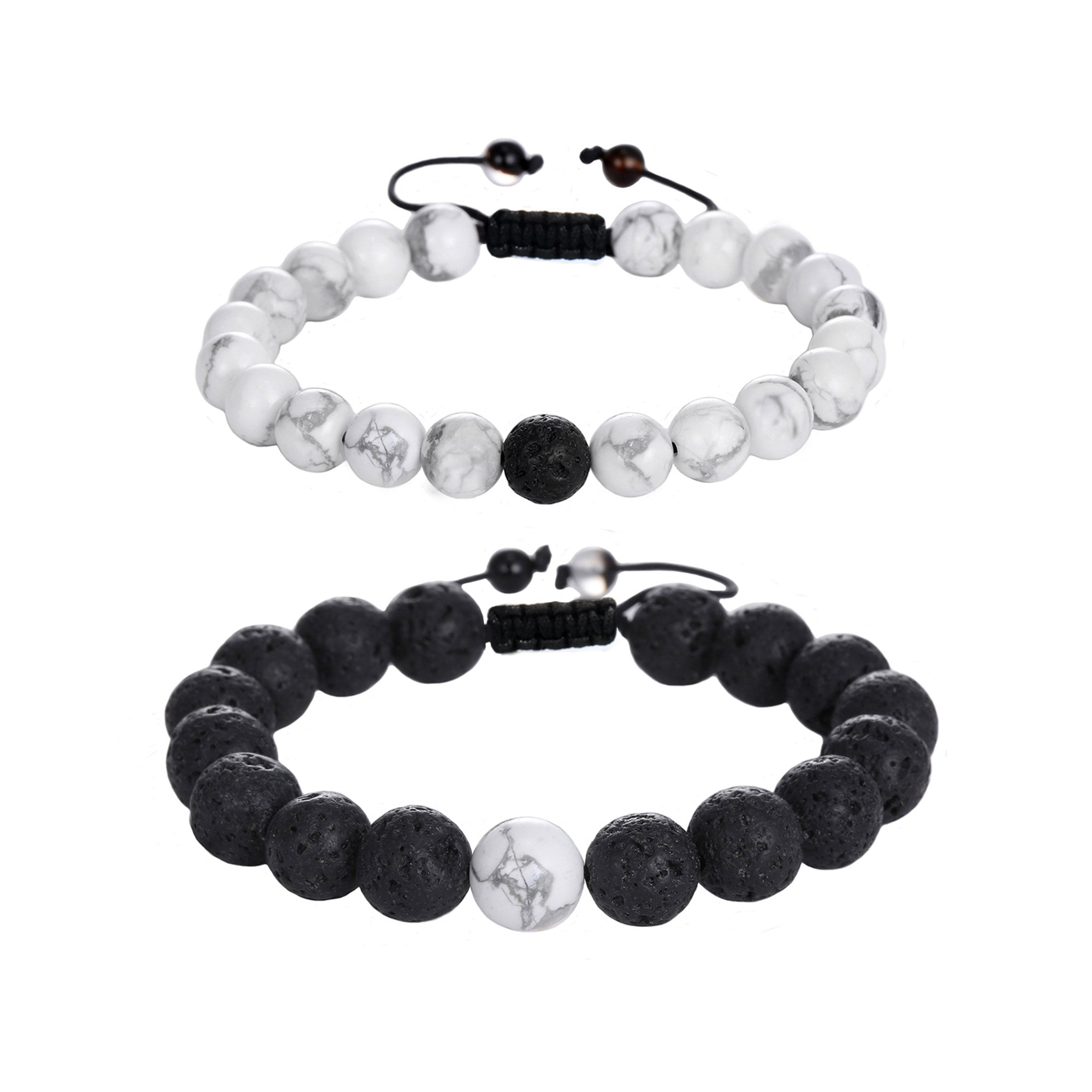 Jade cabbage Distance Relationship Bracelets for Couple-2pcs