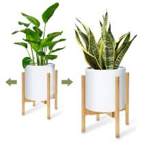"""ORAF Plant Stand Tall Flower Pot Stands Wood, Adjustable Planter Holder 8""""- 10.8"""" Inch and 150lb Large Capacity, Pots for Plants Display Potted Rack Rustic for Home and Office, Natural"""
