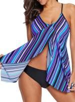 Bdcoco Women's Summer Beach Tankini Top Casual Striped Flyaway Swimsuit Top