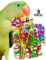 Bonka Bird Toys 1089 PK3 Multi-Vine Squares Foot Talon Toys Cockatiel Quaker Parakeet Conure