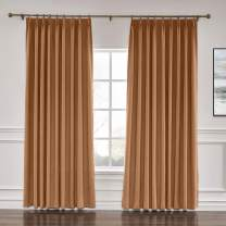 "ChadMade 50"" W x 96"" L Polyester Linen Drapes with Thermal Blackout Lining Pinch Pleat Curtain for Sliding Door Patio Door Living Room Bedroom, Orange (1 Panel)"