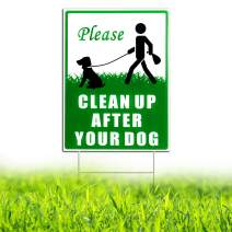 """HISVISION Please Clean Up After Your Dog, 12"""" x 9"""" Yard Sign with Metal Wire H-Stakes Included, No Pooping Dog Lawn Signs Double Sided"""