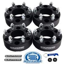 "Supreme Suspensions - 4pc 2"" Hub Centric Wheel Spacers for 2007-2014 Toyota FJ Cruiser 2WD 4WD 6x5.5 (6x139.7mm) BP with M12x1.5 Studs 106mm Center Bore w/Lip [Black]"