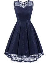 OWIN Women's Vintage Elegant Floral Lace Sleeveless High Low Swing Party Gown Bridesmaid Dress