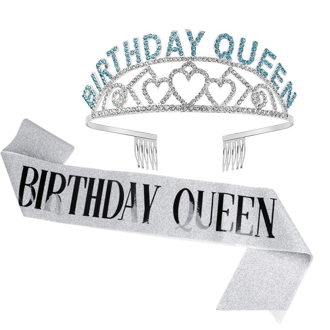 Birthday Crowns for Women, Didder Birthday Sash & Queen Blue Rhinestone Tiara Kit, Silver Tiaras and Crowns for Women 21st Birthday Sash for Women Birthday Tiara Crowns For Women Girls Party Gift