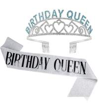 Birthday Crowns for Women, Didder Birthday Sash & Queen Blue Rhinestone Tiara Kit, Silver Tiaras and Crowns for Women 21st Birthday Sash for Women Birthday Tiara Crowns For Women Girls Party Gift