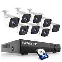 SMONET Full HD 1080P Security Camera Systems,8 Channel 5-in-1 HD DVR Indoor Outdoor Camera System(2TB Hard Drive),8pcs 2MP Wired CCTV Cameras,Surveillance System with Night Vision,Plug&Play DVR Kits