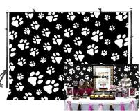 LYLYCTY Puppy Dog Paw Backdrops Black Background White Dog Claw Cartoon Style Backdrop for Children's Birthday Pet Theme Party Banner Kids Photography Background 7x5ft LYZY0114
