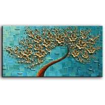 YaSheng Art - 3D Oil Painting On Canvas Texture Palette Knife golden Flowers Paintings Abstract Canvas Painting Modern Home Decorations Artwork for Wall Decor (24x48inch)