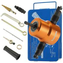 Lnchett Double Head Sheet Metal Nibbler, Nibbler Metal Cutter with Saw Power Drill Attachment for Straight and Circle Cutting, Maximum 14 Gauge Steel.