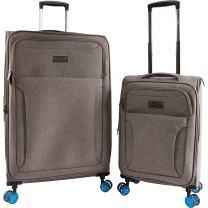 ORIGINAL PENGUIN Luggage Platt 2 Piece Set Expandable Suitcase with Spinner Wheels, Grey Crosshatch/Blue