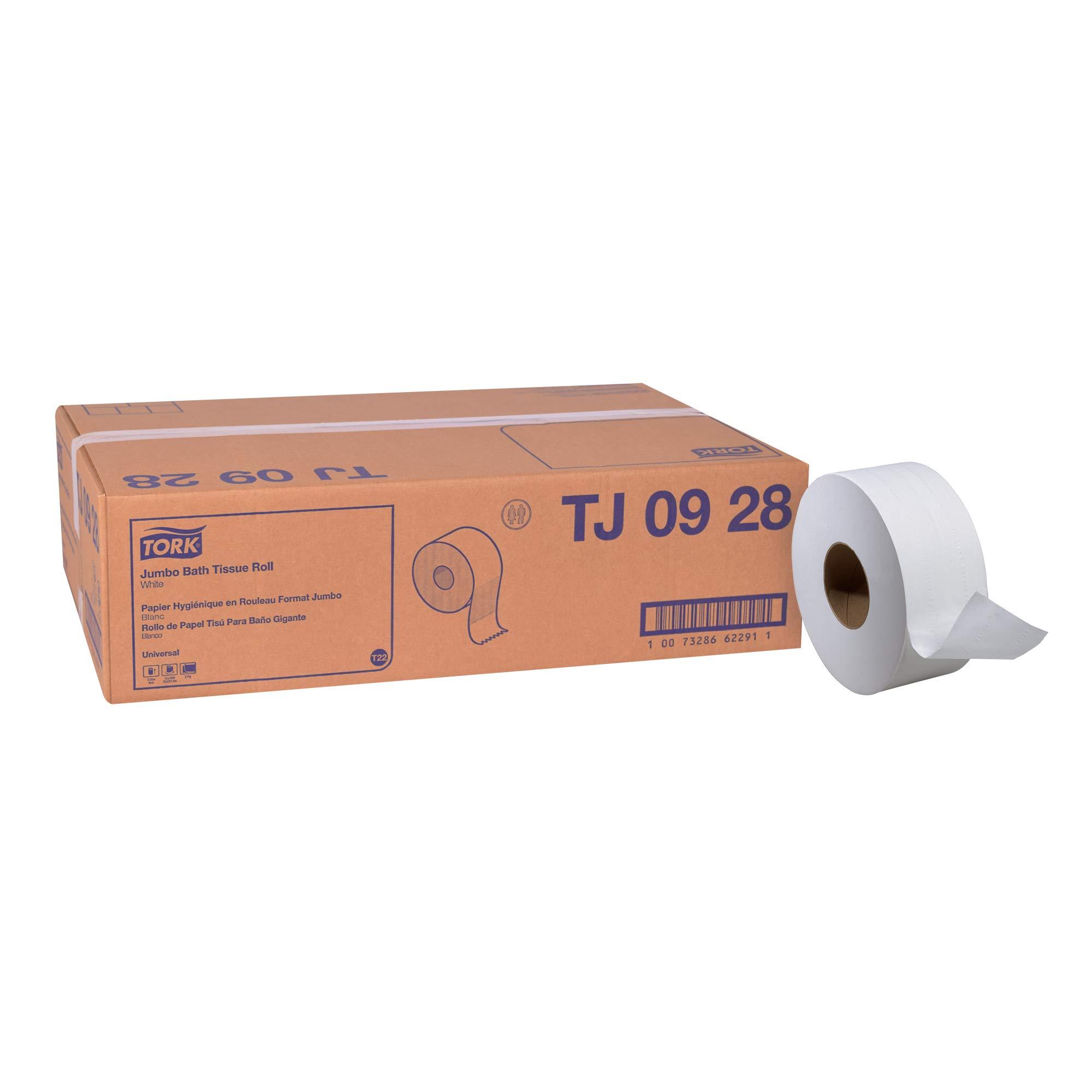 "Tork Universal TJ0928 Jumbo Bath Tissue Roll, 2-Ply, 8.8"" Dia., 3.55"" Width x 750' Length, White (Case of 12 Rolls, 750 Per Roll, 9,000 Feet)"