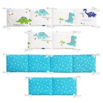 Brandream Baby Boy Crib Bumper Sets Dinosaurs Baby Safe Crib Bumper Pad White/Blue Breathable Newborn Bedding Bumper Liner 100% Cotton Dinosaur Collection Protect Teething, Baby Shower Gift