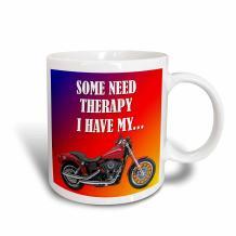 3dRose Some Need Therapy Picturing Harley Davidson Cool Bike Mug, 15 oz, White