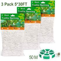 Fierre Shann Trellis Netting, 5x30ft 3-Pack Trellis Net Heavy-Duty Polyester Plant Support Vine Climbing Hydroponics with Garden Twine