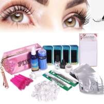 Full Professional Eyelash Extension Kit, TopDirect C Curl Eyelahes False Lashes Strip Graft Glue Lint-Free Under Patch Pad Tweezers Cleansing Lotion Tools Case Bag Set