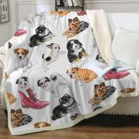 """Sleepwish Adorable Dogs Sherpa Fleece Blanket Animal Pet Watercolor Throw Blanket for Sofa Couch Lightweight Warm Cozy Soft Fluffy Reversible Bed Blanket Throw (50"""" X 60"""")"""