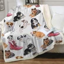 """Sleepwish Adorable Dogs Sherpa Fleece Blanket Animal Pet Watercolor Throw Blanket for Sofa Couch Lightweight Warm Cozy Soft Fluffy Reversible Bed Blanket Twin (60"""" X 80"""")"""