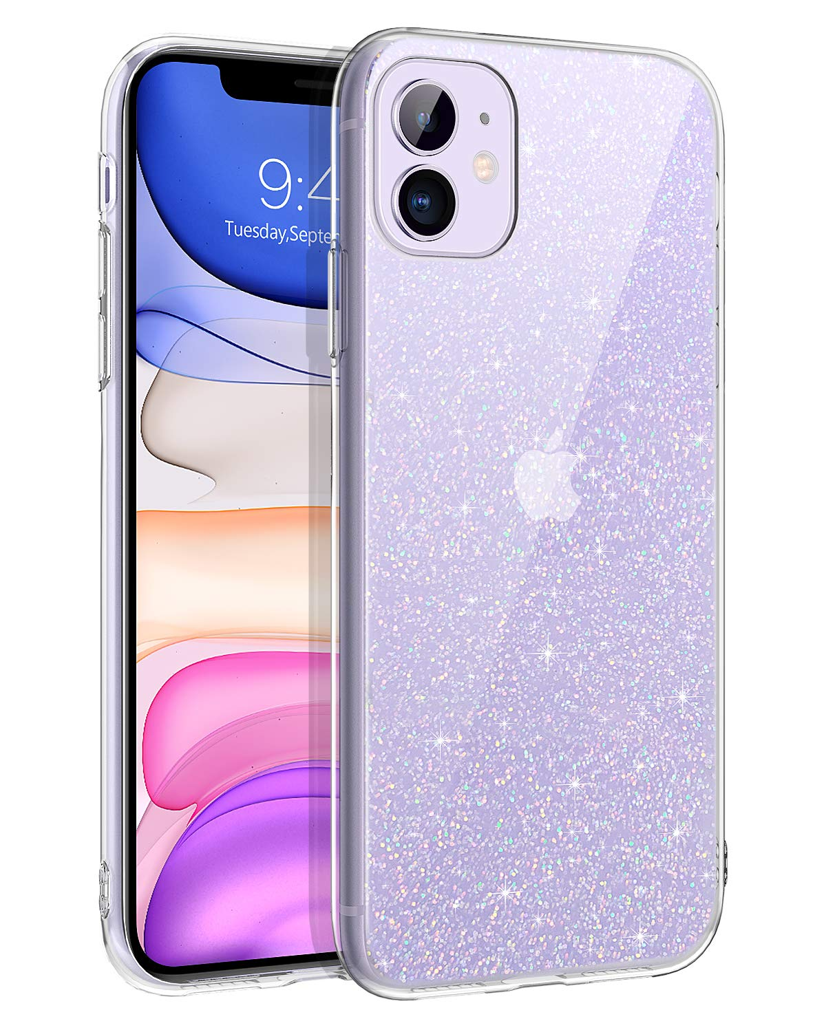iPhone 11 Case, DOMAVER iPhone 11 Cases Glitter Sparkle Bling Shiny Sparkly Slim Lightweight Flexible TPU Shock Absorption Durable Cover Protective Shockproof Phone Case for iPhone 11 (6.1 Inch)