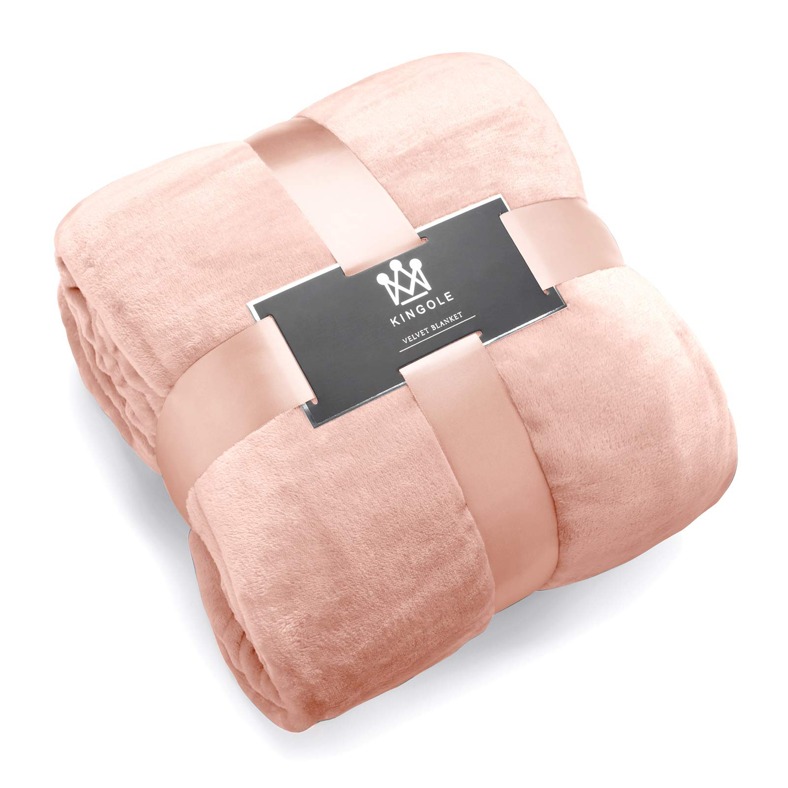 Kingole Flannel Fleece Microfiber Throw Blanket, Luxury Timid Pink Queen Size Lightweight Cozy Couch Bed Super Soft and Warm Plush Solid Color 350GSM (90 x 90 inches)
