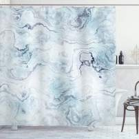 "Ambesonne Marble Shower Curtain, Soft Pastel Toned Abstract Hazy Wavy Pattern with Ottoman Influences Image, Cloth Fabric Bathroom Decor Set with Hooks, 84"" Long Extra, Light Blue"