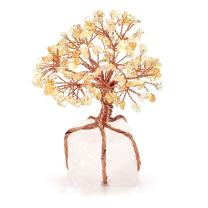 CrystalTears Citrine Crystal Money Tree Feng Shui Ornament Copper Wrapped on Clear Quartz Cluster Base Figurine Decoration for Wealth and Luck