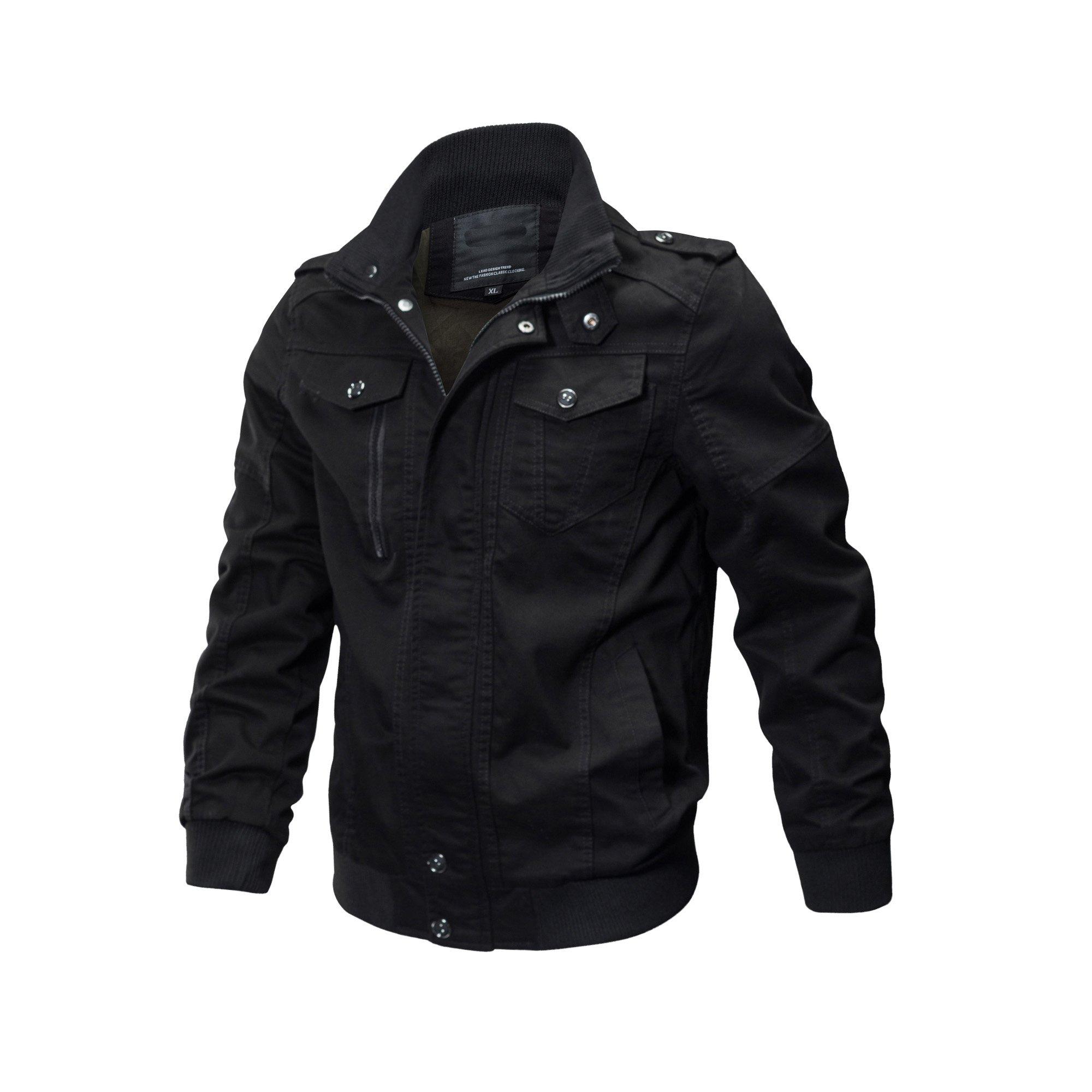 ZooYung Men's Cotton Lightweight Jackets Casual Military Jackets Coat Outdoor Windproof Windbreaker