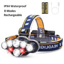 USB Rechargeable Headlamp Flashlight,8 LED 13000 Lumen 8 Modes 18650 Flashlight Head Lights with Red Light