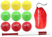 "PowerNet Sweet Spot Training Bat + Baseball 2.8"" Progressive Weighted Ball 9 LITE Pack Bundle 