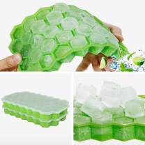 2 Pack Silicone Ice Cube Trays with Lids, Ice Mold Make 74 Cubes Totally Easy Release Flexible Spill-Resistant Stackable Durable BPA Free and Dishwasher Safe (Green)
