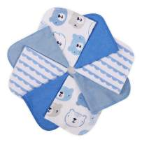 """Baby Washcloths, Momcozy Ultra Soft Absorbent Towel, 8pcs Newborn Bath Face Towel, Natural Reusable Baby Wipes for Sensitive Skin, Baby Registry as Shower, 10""""x10"""" (Blue)"""