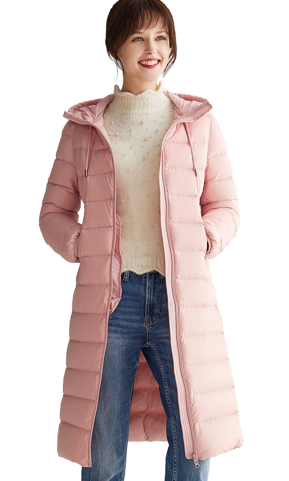 VUTOLEE Women Lightweight Down Jacket Coat- Ultralight Packable Long Down Puffer Coat Mid-Length Hooded Down Outwear L03
