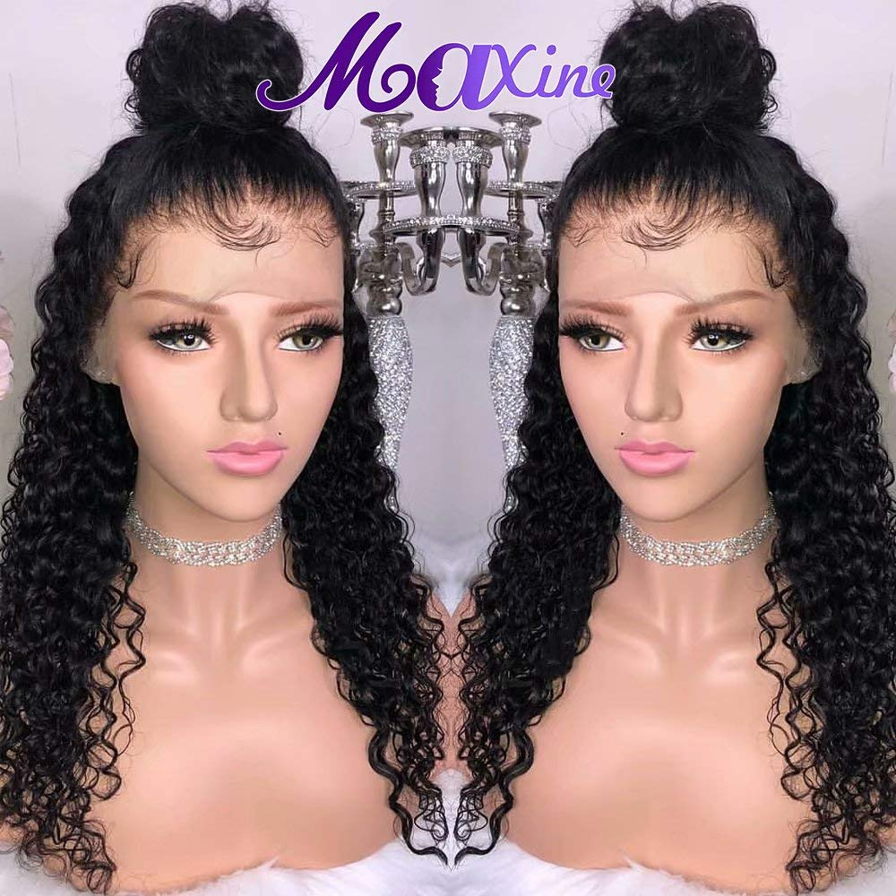 Maxine Water Wave Wig 360 Lace Frontal Wig Pre Plucked with Baby Hair Wet and Wavy Human Hair Wig for Black women Natural Color(14inch)