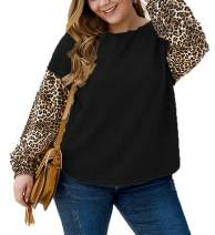 Womens Plus Size Leopard Print Tops Waffle Knit Shirt Raglan Batwing Long Sleeve Casual Tunic