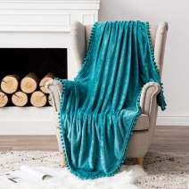 MIULEE Ultra Soft Fleece Blanket Luxurious Fuzzy for Couch or Sofa Lightweight Fluffy Warm Bed Blanket with Cute Pompom Tassels - Super Cozy for Napping Sleeping Twin Size 60x80 inches Turquoise