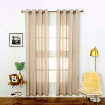 """LoyoLady Wheat Sheer Curtains 63 Inches Length, Linen Sheer Valances for Bedroom, Grommet Top Sheer Voile Window Treatments Curtain, Set of 2 Panels 52"""" W x 63"""" L"""