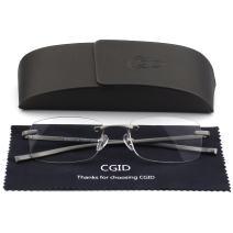 Unisex Lightweight Rimless Frameless Rectangle Reading Glasses Mens Womens Spring Hinge Fashion Readers Reading Glasses +2.00