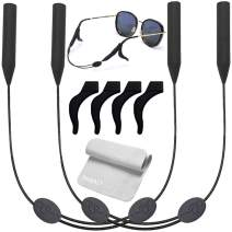 2 Packs Glasses Straps Adjustable Eyewear Glasses Retainers Sports Waterproof 4 Anti-Slip Hooks No Tail 16 inches for Adults (Long+)