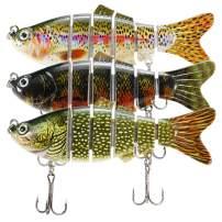 "Lixada Fishing Lure for Bass 4"" Multi Swimbaits Slow Sinking Hard Lure Artificial Bait 8Segment Lifelike Trout Hard Crankbait Treble Hooks"