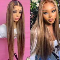 QUINLUX WIGS Honey Blonde Ombre Highlight color Straight Human Hair Wigs 180 Density#4T27 Wigs 13X6 HD Transparent Lace Front Wig Glueless Wig Brazilian Remy Human Hair With Baby Hair For Black Women