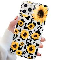 GLBYDLO Compatible with iPhone 12 Pro Max Case, 6.7 inch,2020,Leopard Cheetah Sunflower Print Cute Cases for Girls Women Slim Fit Flexible Soft Cover Protective Phone Case(Sunflower Leopard)