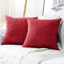 MUDILY Pack of 2 Striped Velvet Christmas Decor Throw Pillow Covers Cushion Cover for Chair Supersoft Handmade Decorative Pillowcase for Sofa Bed Bench and Outdoor 20 x 20inch Christmas Red