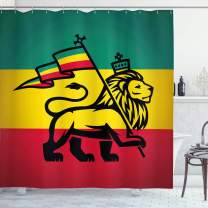 "Ambesonne Rasta Shower Curtain, Judah Lion with a Rastafari Flag King Jungle Reggae Theme Art Print, Cloth Fabric Bathroom Decor Set with Hooks, 70"" Long, Red Yellow"