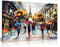 Modern Oil Painting Colourful Paris Canvas Wall Art Picture Print (30x20)