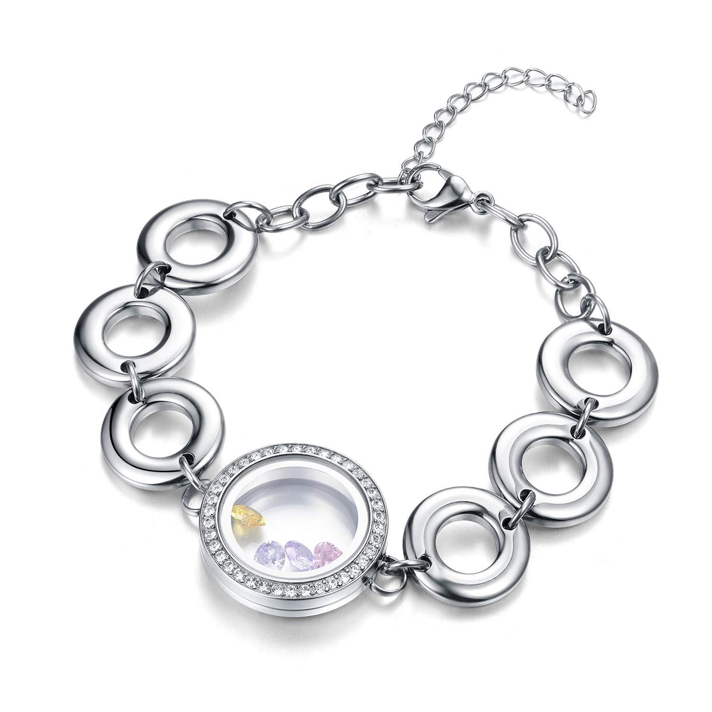 EVERLEAD Living Memory Floating Charms Locket Bracelet Waterproof Screw Locket Stainless Steel Bangle Free Zircon Birthstones